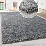 Paco Home Shaggy Hochflor Langflor Teppich Sky Einfarbig in Grau, Grösse:120x170 cm