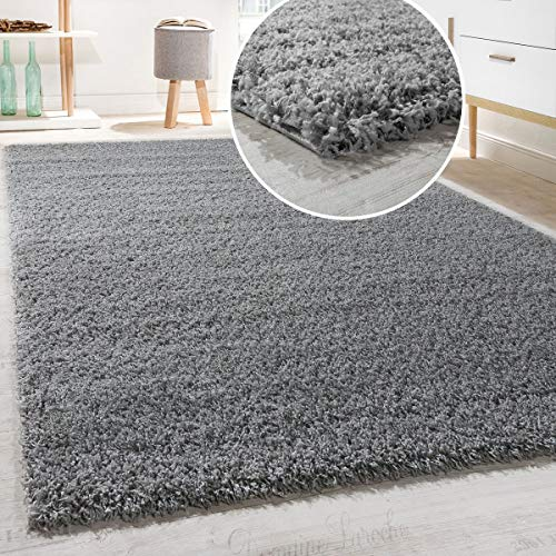 Paco Home Shaggy Hochflor Langflor Teppich Sky Einfarbig in Grau, Grösse:160x220 cm