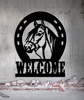 Horseshoe Welcome Sign - Horse shoe Stall Name Sign - Horse Sign 18 inches wide by 23 inches tall Metal Sign