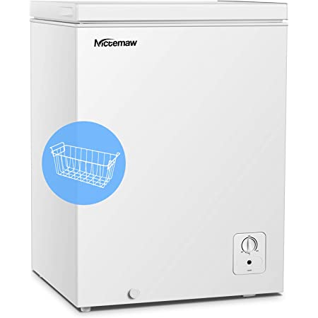 Amazon Com Chest Freezer Nictemaw 3 4 Cu Ft Large Capacity Refrigerator With Energy Saving Low Noise 3 Gears Adjustable Temperature With Removable Basket Deep Freezer For Kitchen Garage Basement White Appliances