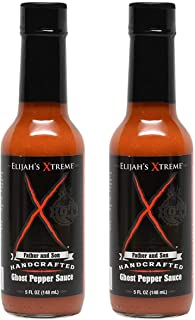 Elijah's Xtreme Ghost Pepper Hot Sauce, Ultimate Gourmet Hot Pepper Sauce with Extreme Fiery Heat (5 oz) 2 Pack