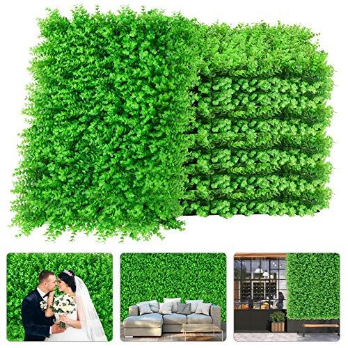 Künstliche Buchsbaumhecke, 61 x 40,6 cm, UV-geschützt, mit 100 Reißverschlüssen, dekorativer Formschnitt-Hintergrund, Kunstblätter, grüne Wand für Gartenzaun, Hinterhofdekoration