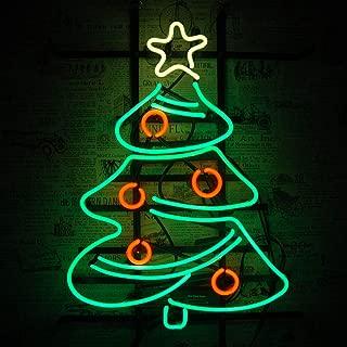 Neon Sign Lights,Handmade Real Glass Tube,Advertising Sign Nightlight,Beer Bar Pub Home Room Windows Garage Wall Decor Wedding Party Decoration (Christmas Tree 14