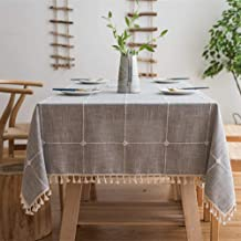 YISK Cotton Linen Checked Lattice Tablecloth Embroidery Tassel Table Cover 140x220cm (55 x 86 Inch) for Home Kitchen Dinni...
