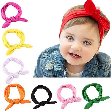 GOPOWD Bebé Niña Arco Turbantes Bandas para la Cabeza con las Oídos de Conejo 8 piezas
