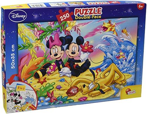Lisciani Puzzle para niños de 250 piezas 2 en 1, Doble Cara con reverso para colorear - Disney Mickey Mouse En La Playa 48113