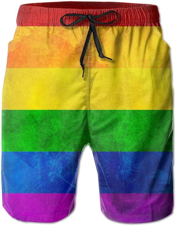 68643400fac1b MSACRH Retro Gay Rainbow Flag Men's Summer Fast Fast Fast Dry Beach Shorts  Swim Trunks Boardshorts Surf Cargo Shorts cca6ce