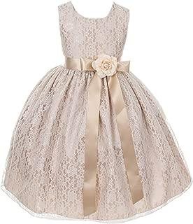 Cinderella Couture Girls Elegant Champagne Lace Flower Girl Dress & Sash