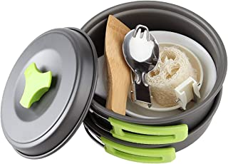 Camping Cookware Mess Kit Backpacking Gear Hiking Outdoors Bug Out Bag Cooking Equipment 10 Piece Cookset Lightweight Comp...