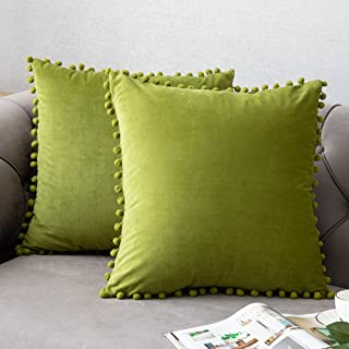 Throw Pillow Covers with Pom-poms, 2 Pack Super Soft Velvet Decorative Pillow Cases, Luxury Accent Rectangular Pillowcases, Square Cushion Covers for Farmhouse,Couch,Sofa, 20x20 Inch, Chartreuse