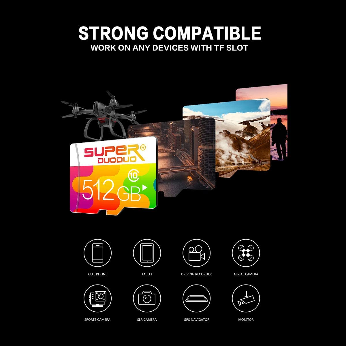 Micro SD Card 512GB with A SD Card Adapter High Speed Class 10 Memory Card for Tablet and PCs Dash Cams&Action Camera&Surveillance&Security Cams