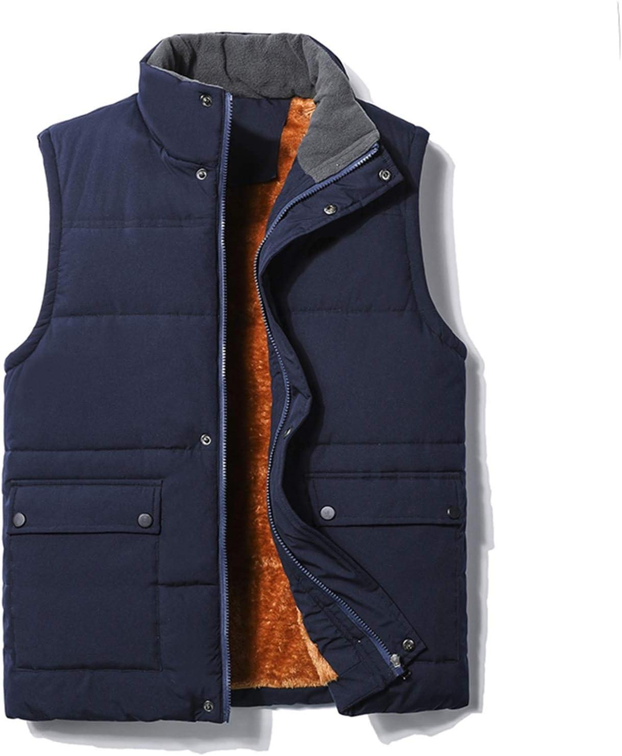LYLY Vest Women Men's Vest Zipper Button Casual Coats Male Pure Color Autumn Winter Sleeveless Waistcoat Fleece Warm Vest Top Coat 5XL Vest Warm (Color : Blue, Size : XL)