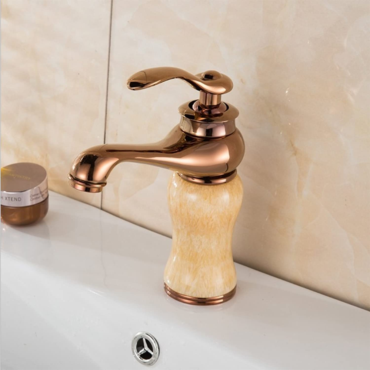 Oofay Copper Hot And Cold Single Hole Jade Bathroom Faucet,Bathroom Wash Basin Jade Basin Faucet,B