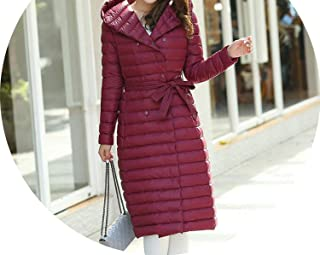 Winter Women Duck Downs Jacket Parkas Sashes Long Down Coat Ladies Outerwear