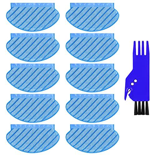 KGC 10 Stück Ersatz Wischtuch Zubehör Wischtücher Reinigungstücher Kompatibel mit Ecovacs Deebot OZMO 950 920 Staubsauger Roboter, yeedi 2 hybrid Saugroboter. (1 Pinsel einschließen)