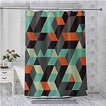 Aishare Store - Cortina de ducha con ganchos, diseño geométrico con cuadrados, triángulos, formas y sombras en zigzag a ra...