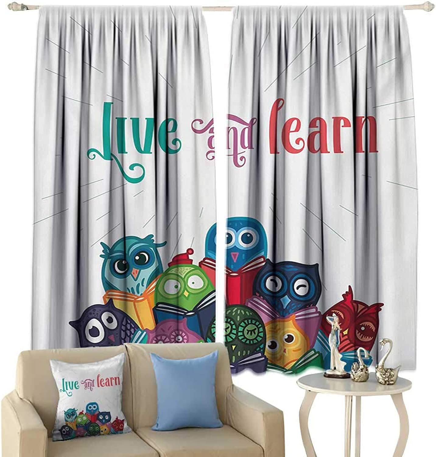 Thermal Curtains Cartoon Kids Nursery Room Design with Toy Like Animals Owls Birds Reading Books Artwork Blackout Multicolor