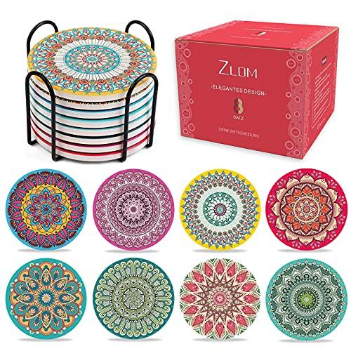 ZLDM Posavasos de cerámica, juego de 8 posavasos de cristal, decoración bohemia, de corcho, posavasos de madera con soporte, para velas, adecuado para copas de vino, jarrones, posavasos.