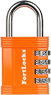 FortLocks Padlock - 4 Digit Combination Lock for Gym Outdoor & School Locker, Fence, Case & Shed – Heavy Duty Resettable Set Your Own Combo – Waterproof & Weatherproof (Orange, 1 Pack)