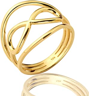 Mr. Bling 10K Yellow Gold Infinity Geometric Design Ring, Available in Sizes 5-9