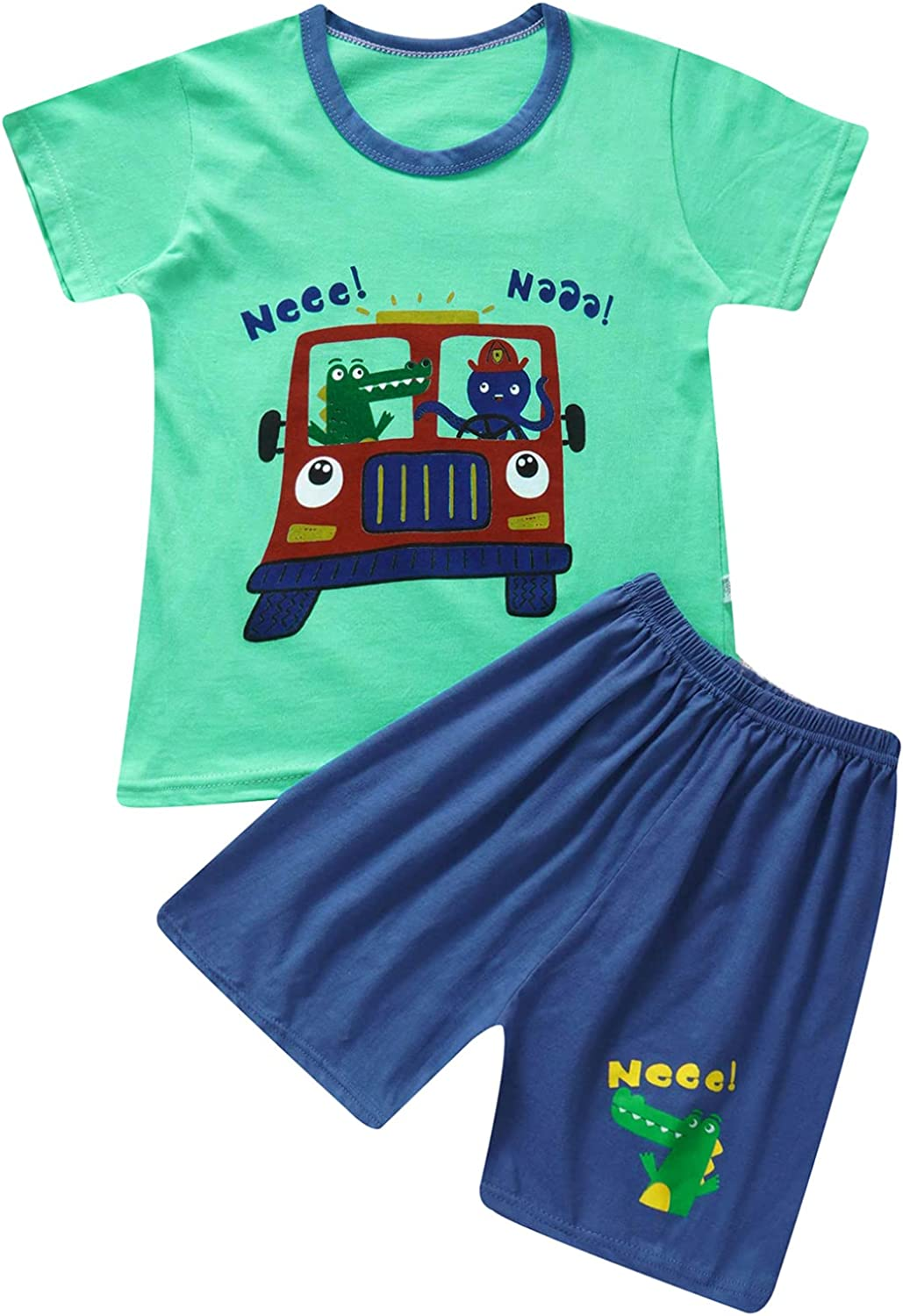 JanJean Kids Boys Summer Cotton Casual Clothes Outfit Short Sleeve Cartoon Print T-Shirt Top with Shorts Set 2-10 Years