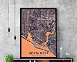Costa Mesa California Ca Us Map Color Hometown City Modern Home Dorm Wall Art Print Poster, Canvas Gallery Wraps Wall Decoration