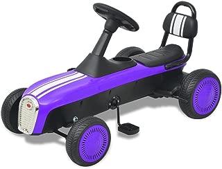 vidaXL Kart Pedales Ajustable Niños Morado Coche Cart Go-