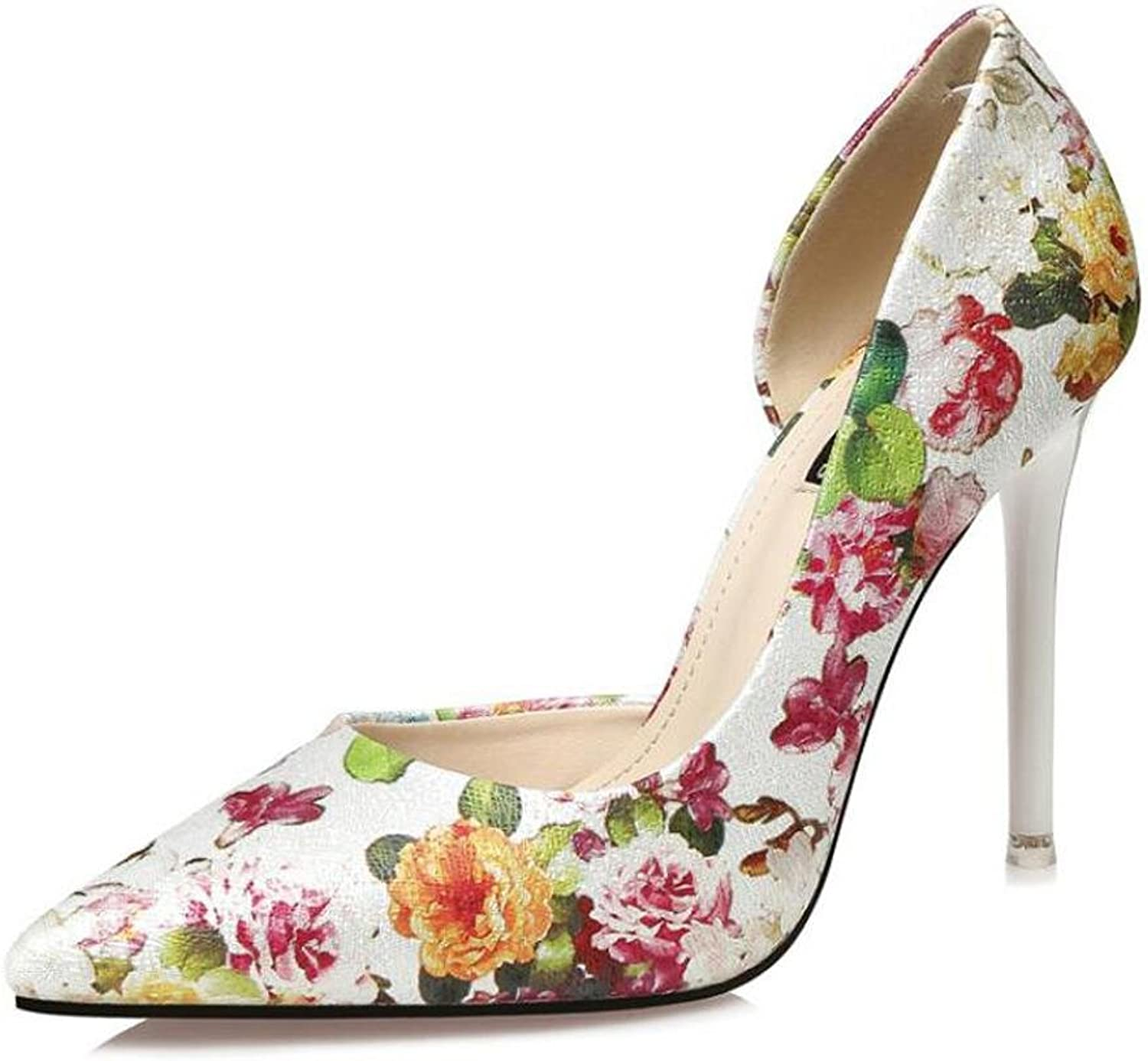 L@YC Women's High Heels Side Empty Pointed Nightclub 10cm Fine with Flowers Sandals
