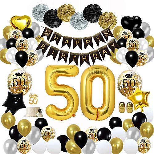 MMTX 50 Décorations de fête en Noir Or, Bannières de Joyeux Anniversaire Ballons Ballons du 50 ème Anniversaire, Pom Poms en Papier, Ballons en Feuille d'or pour Hommes et Femmes Adult Decor (50)