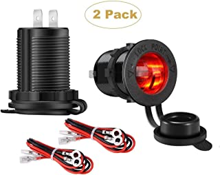YONHAN Cigarette Lighter Socket 12V Power Outlet Receptacle with Red LED for Car Marine Motorcycle Scooter RV and More, 2-Pack