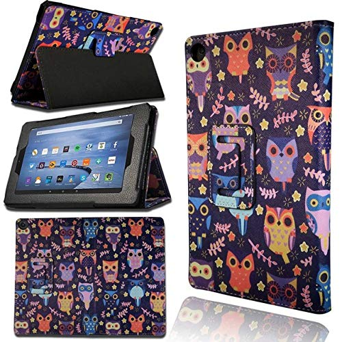 WUCHONGSHUAI Funda para Kindle,Funda De Cuero Resistente A Caídas para Amazon Kindle Fire 7 (5Th / 7Th / 9Th) / Fire HD 8 (2016/2017/2018) Funda para Tableta, 7. Búhos De Colores, Fuego HD 8 (2017)