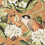 Dekostoff Halbpanama Digitaldruck Affe Vogel Blumen ocker