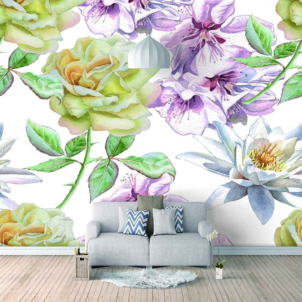 HWCUHL 3D Wall Stickers Mural Max 62% specialty shop OFF Mur Purple Wallpaper White Flowers