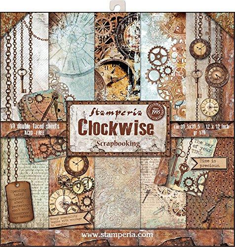 STAMPERIA SBBL39 Papierblock 10 Blätter doppelseitig Uhren, Papier, Mehrfarbig, 30.5 x 30.5 (12