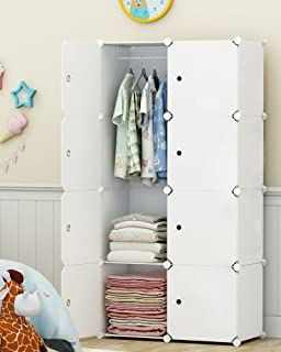 Elpitha Wardrobe Portable Clothes Closet Organizer Bedroom Armoire Dresser Cube Storage,5 Cubes&1 Hanging Section
