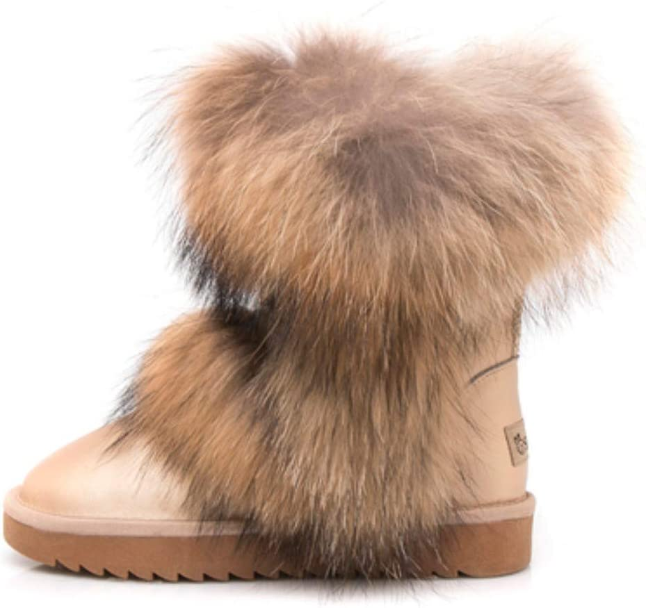 Snow Boots Women's high Natural Fox Fur Boots European and American Women's Boots Leather Boots; Women's Winter Boots Shoes Boot