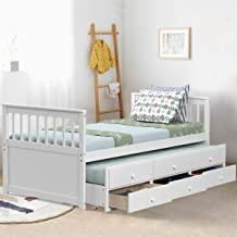 Giantex Twin Captain's Bed with Trundle Bed, Wood Storage Daybed with 3 Storage Drawers, Bunk Bed Alternative, No Box Spri...