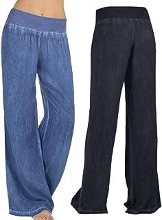 764e5417048a Dragon868 Pantaloni Donne, Pantaloni Donna Palazzo Denim Jeans Nero Blu  Casual 2018 Estivi Taglie Forti