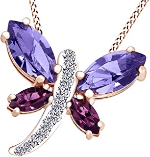 1.24 Cttw AFFY Round Cut Simulated Amethyst Solitaire Pendant in 14K Gold Over Sterling Silver