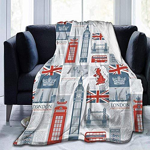 Mauriced Tema Reino Unido y Londres Bandera británica Manta de Franela Personalizada Manta de Micro Franela Ultra Suave
