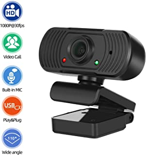 PC Webcam Desktop & Laptop 1080P Full HD USB Computer Web Camera with Microphone Widescreen 110 Degree Extended View for Mac YouTube Skype Live Streaming WeChat OBS Zoom FaceTime Video Conferencing