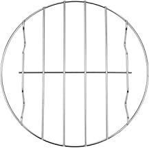 TamBee 8 Inch Air Fryer Rack Cooking Steaming Cooling Multi-Purpose 304 Stainless Steel Round Rack Cross Wire w Stand Cookware Fit for Air Fryer Pressure Cooker Canning (1, 8 Inch)
