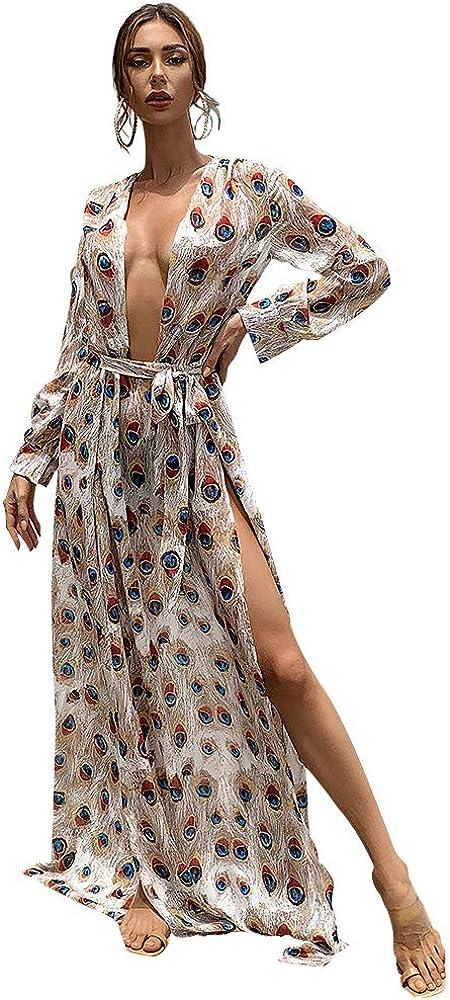 Miss ord Women's Sexy Deep V Long Sleeve High Split Maxi Dress with Belt Swimsuit Swim Beach Maxi Cover Up Dress
