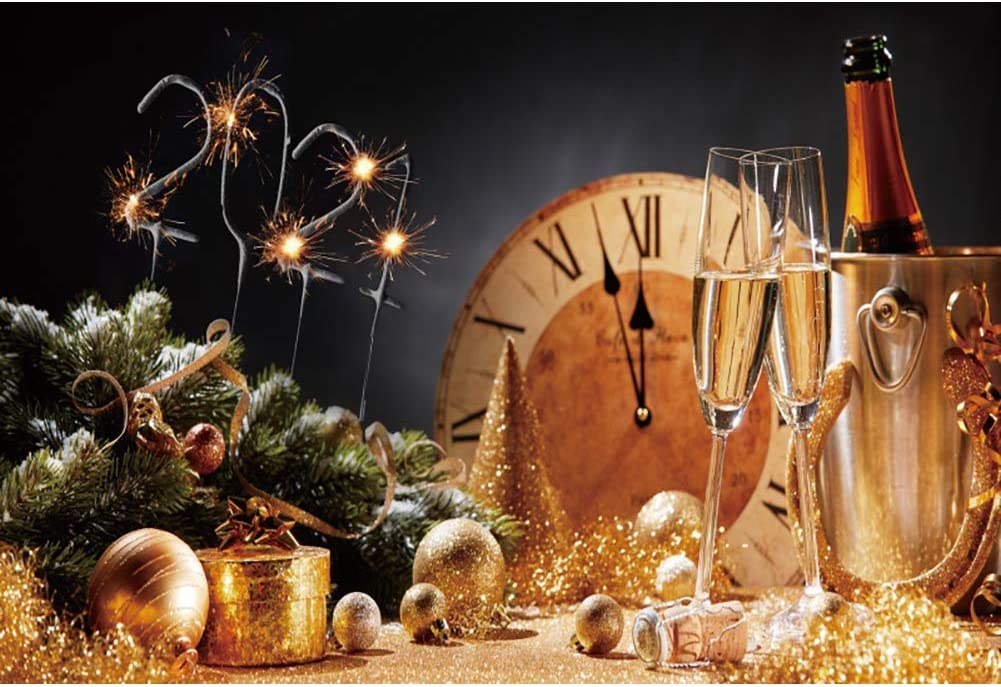 DaShan 14x10ft Sparklers Fireworks Champagne Glasses 2021 Happy New Year Backdrop Christmas New Year Eve Party Photography Background Bottle Wine Winter Party Festival YouTube Photo Props