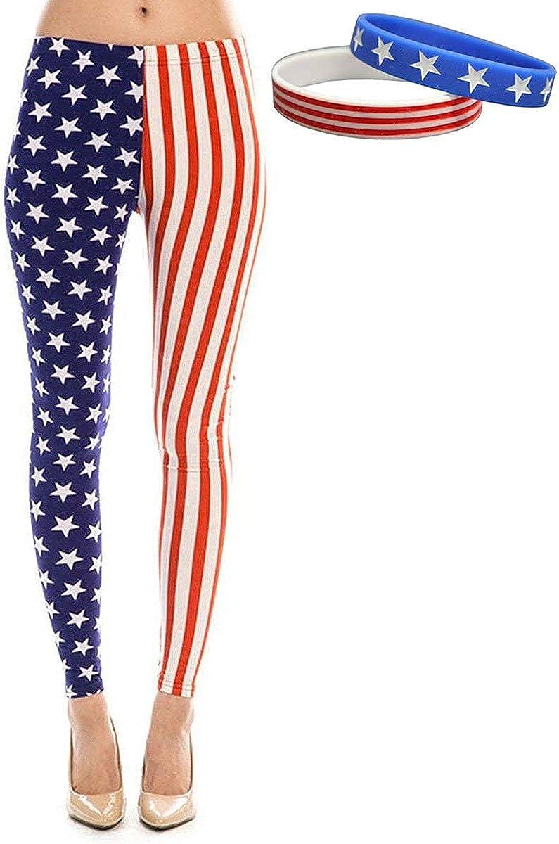 American Flag Patriotic Leggings and Bracelet Bundle