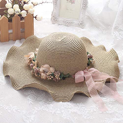 Cappello da Donna Grande in Crema Solare, Cappello da Sole da Viaggio all'aperto, Cappello da Sole a Tesa Larga a Ghirlanda ondulata-caffè Leggero_M (56-58 cm)