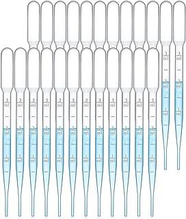 DELFINO 100PCS 3ML Pipettes, Disposable Pasteur Pipette, Eye Dropper, Plastic Liquid Droppers for Essential Oils, Graduate...