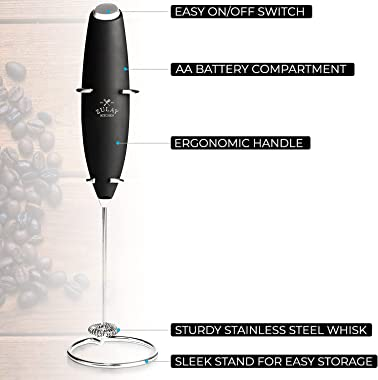Zulay Original Milk Frother Handheld Foam Maker for Lattes - Whisk Drink Mixer for Coffee, Mini Foamer for Cappuccino, Frappe