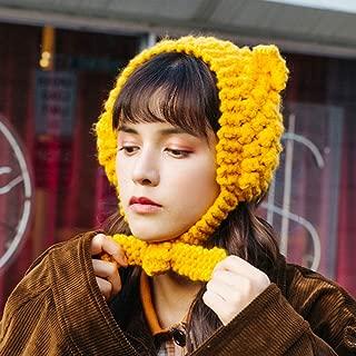 WHPSTZ Cute Bear Ears Earmuffs Women Winter Earmuffs Knit Cap Ear Bag Women's Wool Cap (Color : Yellow)