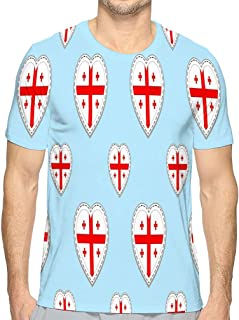 Men's T Shirt Georgia Flag Georgian Flags stikers Love Hearts Symbols Languages Courses Sports Pages Electric